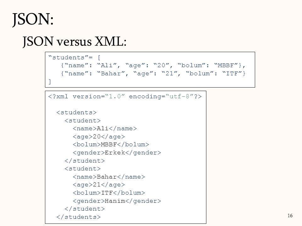 JSON: JSON versus XML: students = [